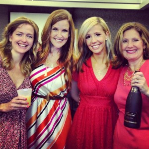 Suzanne, Danielle, Virginia, and Ellie celebrate with mimosas.