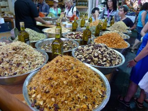 Going nuts in the Shuk, an outdoor Israeli marketplace.