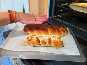 challah with peggy hand