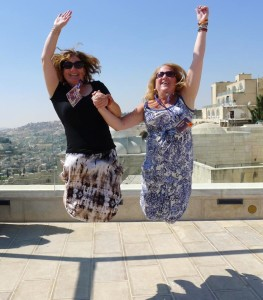 Ellie & Cindy jumping in the Old City.
