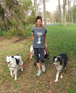 maxine with dogs on leashes