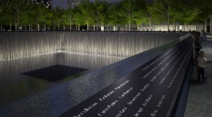 9_11Memorial Pool Names Parapet Night. Rendering Squared Design Lab